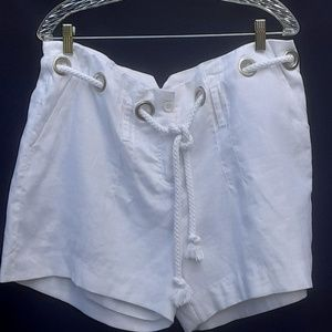 SIZE XL White Linen LINED SAILOR SHORTS Rope Tie